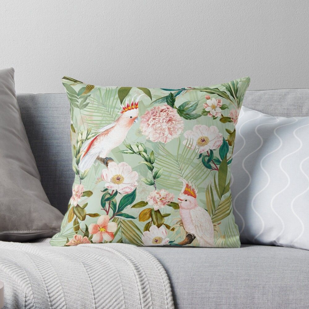 'Tropical cockatoo and jungle pattern - mint' Throw Pillow by UtArt #junglepattern