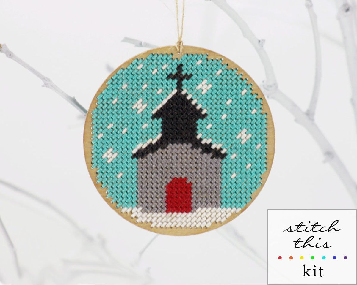 """christmas ornament needlepoint kit - diy - chapel in the snow - 3.5"""" - turquoise and red - contemporary - modern(Etsy のModernNeedleworksより) https://www.etsy.com/jp/listing/153379387/christmas-ornament-needlepoint-kit-diy"""
