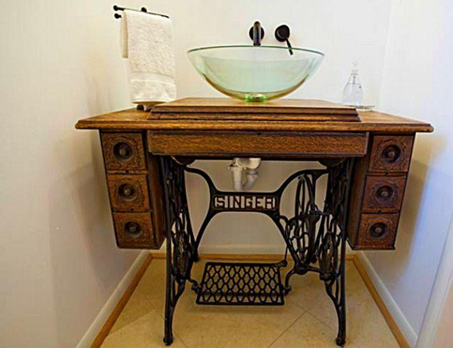 View In Gallery A Vintage Modern Look For The Bathroom Diy Bathroom Sewing Machine Table Diy Vintage Bathroom Vanities