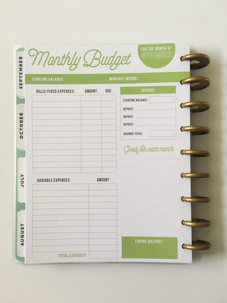 Dynamic image regarding happy planner budget printable