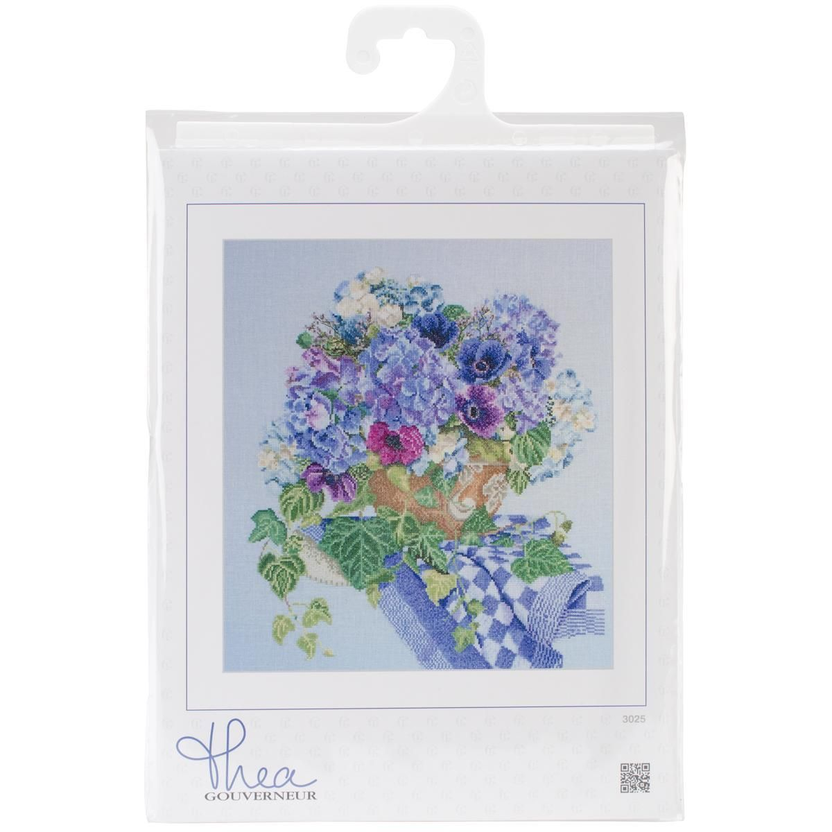 Hydrangea-Anemone On Aida Counted Cross Stitch Kit - 14-1/2 X16-1/2 16 Count