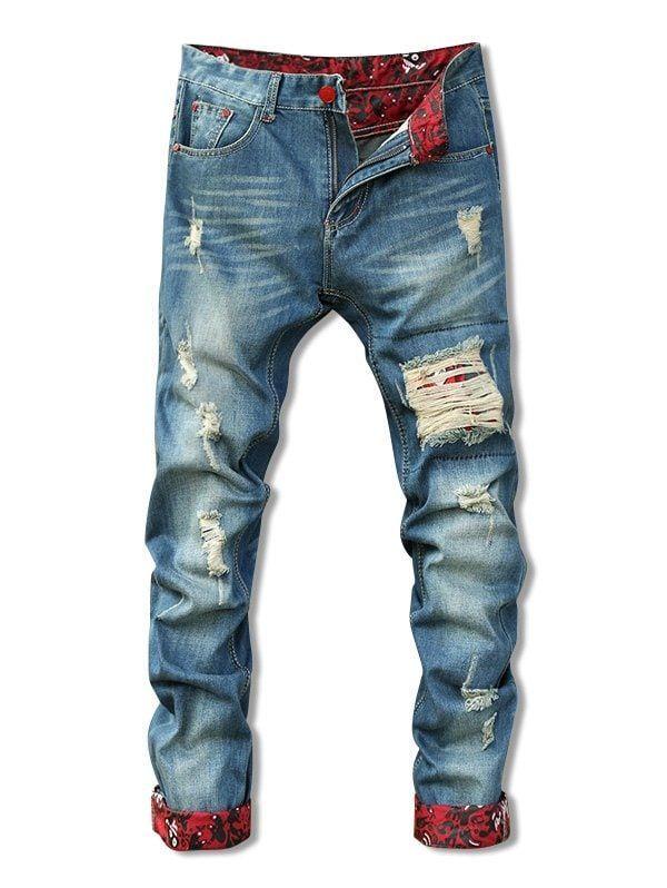 Holes Cat's Whisker Design Crimping Zipper Fly Straight Leg Men's Jeans -  BLUE 36