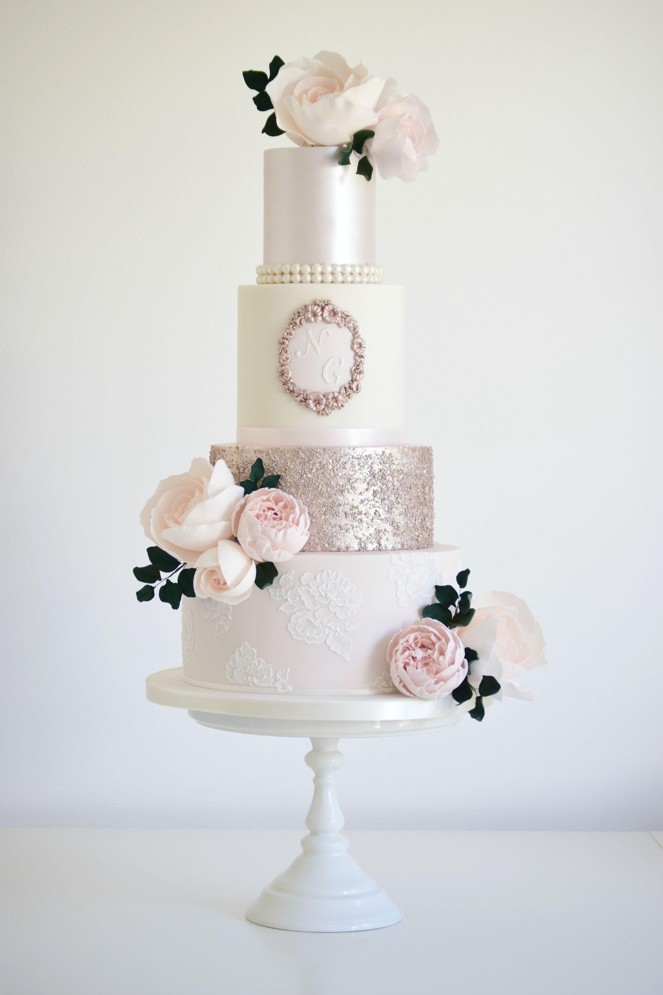 Rose Gold & Blush £650.00   Wedding   Pinterest   Wedding cake, Cake ...