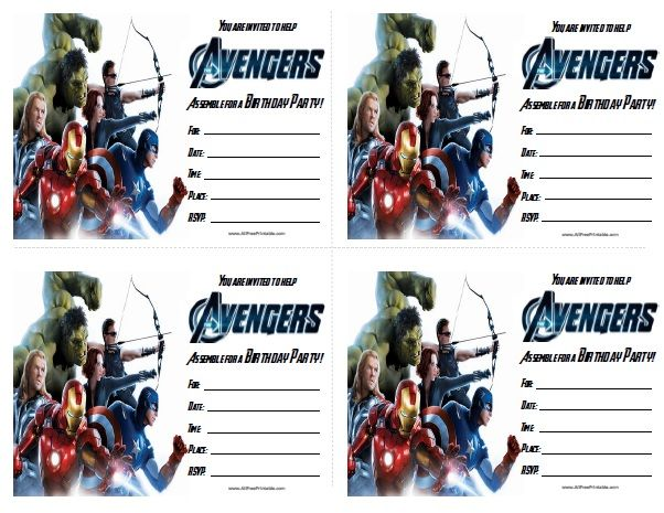 avengers birthday invitations free