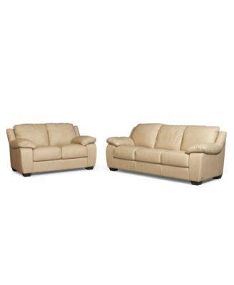 Blair Leather Living Room Furniture, 2 Piece Set (Full ...