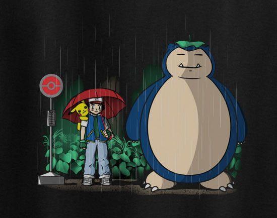 8a182172 Totoro rain scene parody Ash Ketchum and Snorlax tee t-shirt | all ...
