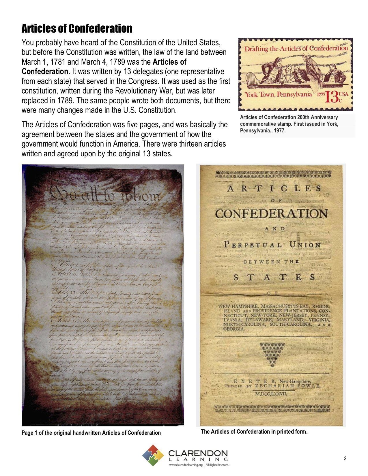 Articles Of Confederation Worksheet Articles Of