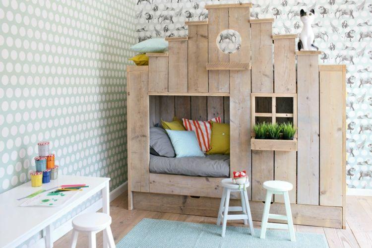 Schlafecke Im Kinderzimmer Haus Design Rustikal Tapete Schreibtisch Weiss
