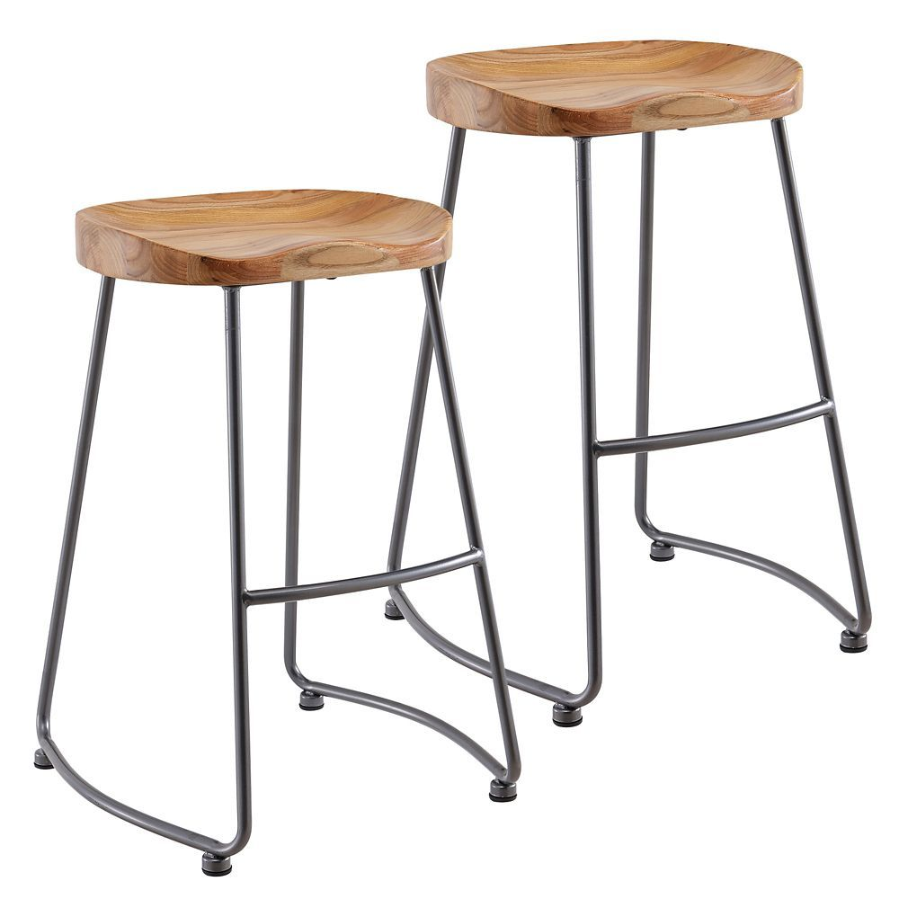 Metal clear rustic backless armless bar stool with natural