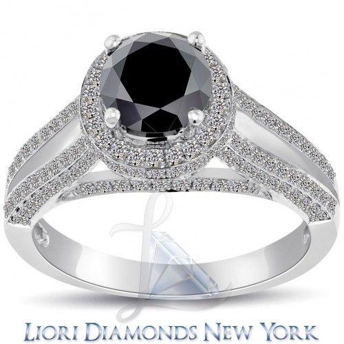 2.64 Carat Certified Black Diamond Engagement Ring Pave Halo 14k White Gold - Black Diamond Engagement Rings - Engagement - Lioridiamonds.com
