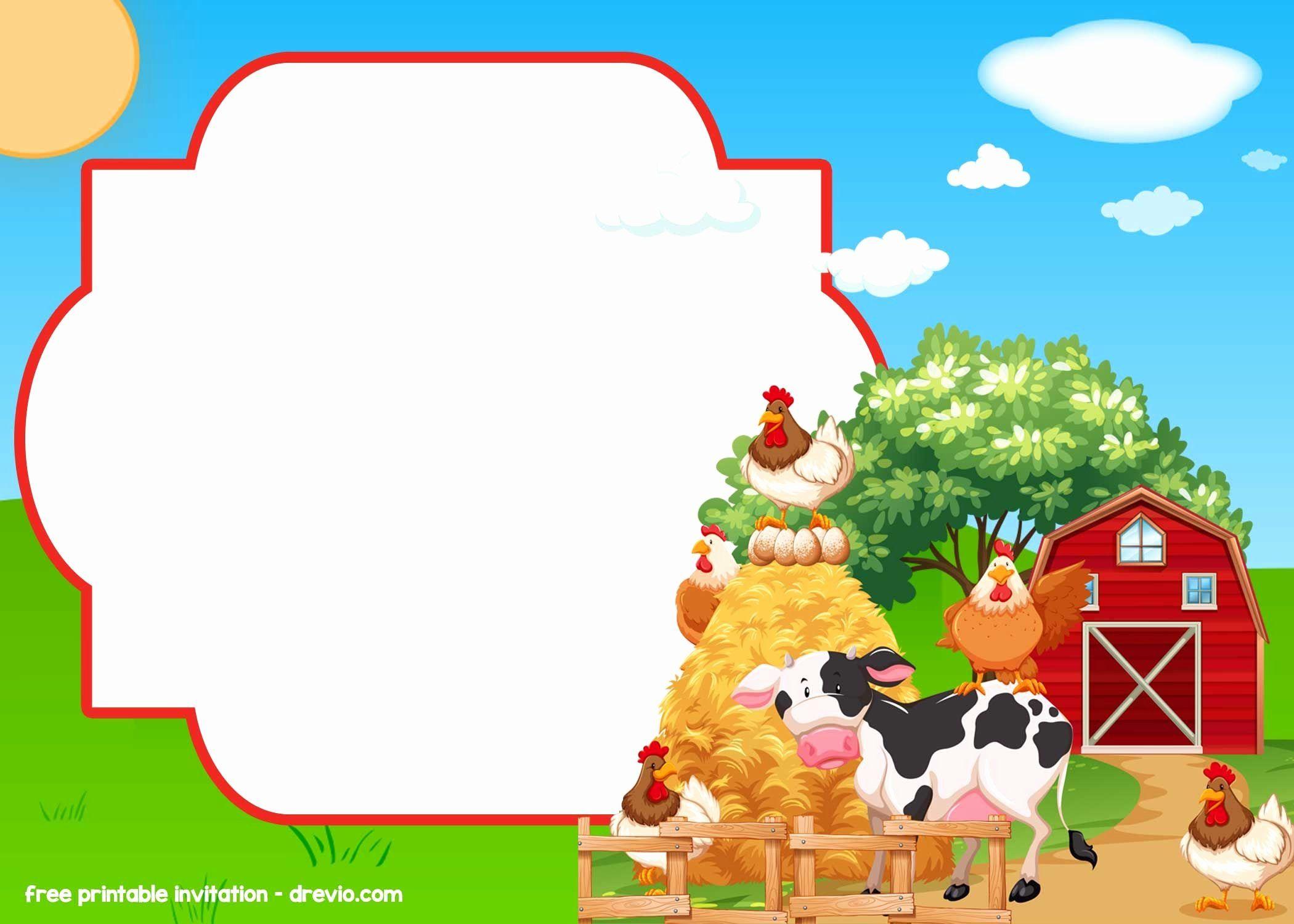 free printable farm birthday invitation