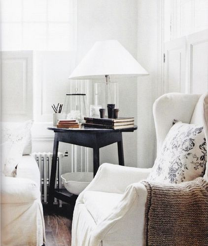 Tricia Foley {white rustic modern living room} love this table in black