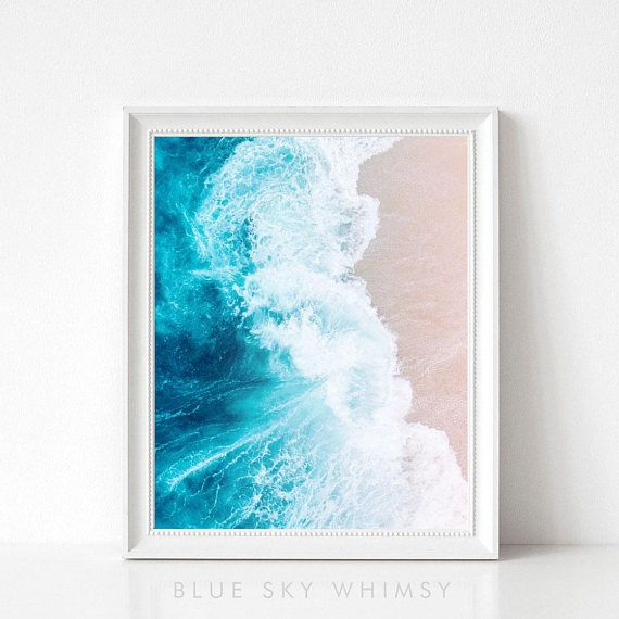 A printable beach wave print of a blue and white photograph of ocean
