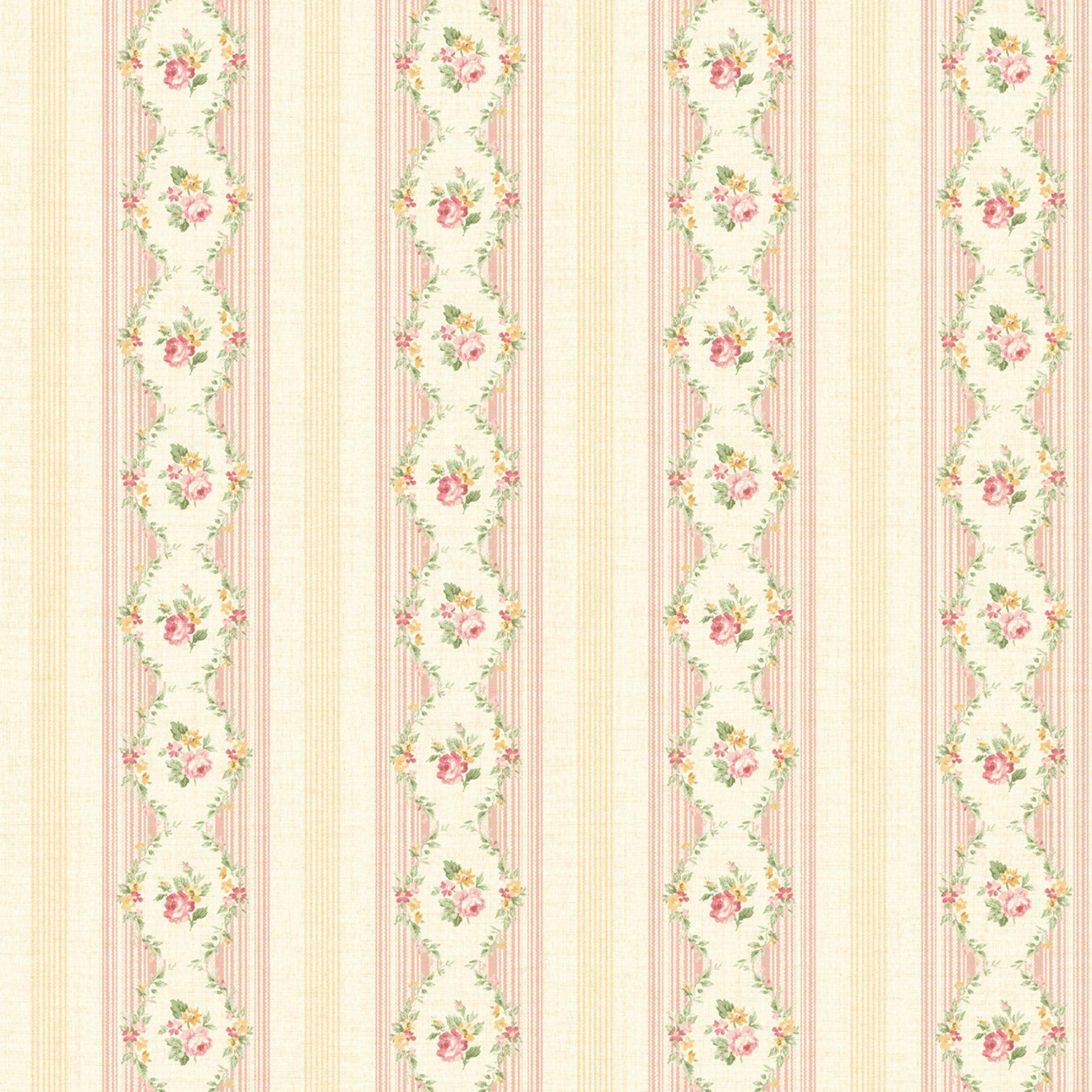 Fairwinds Studios Mini Floral Stripe Wallpaper Striped Wallpaper