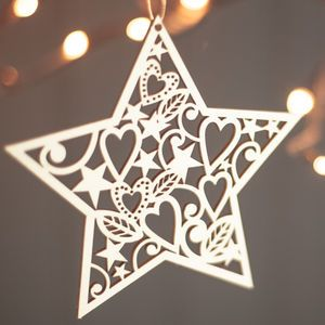 Lasercut Wooden Christmas Heart And Star Decorations - christmas