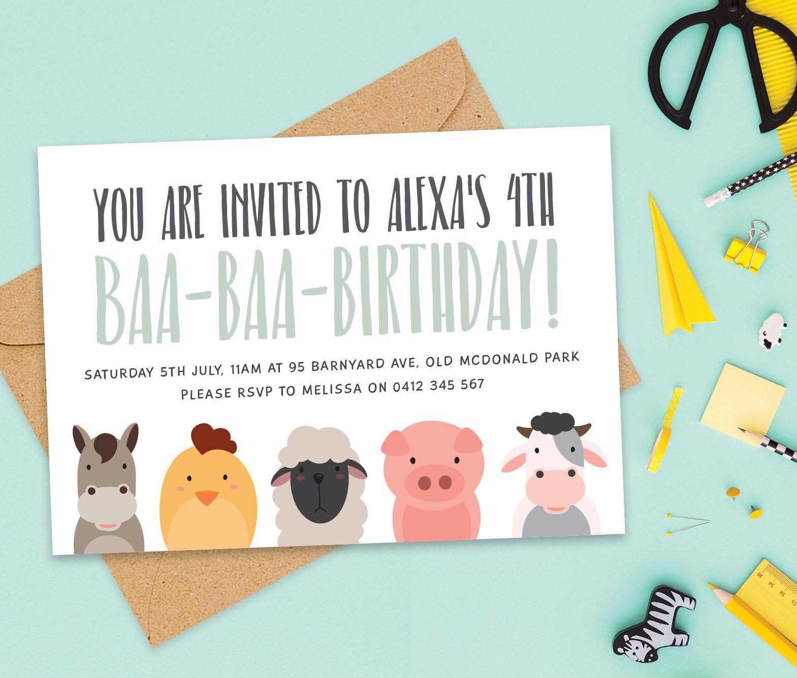 Farm Birthday Invitation Old McDonald Party Invitations Printable For Boys And Girls