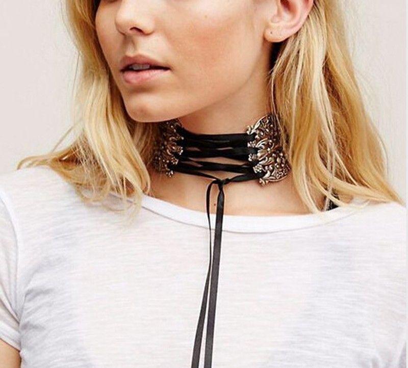 Big Brand ZA 2016 Ribbon Metal Vintage Choker Collar Maxi Statement Necklace Pendant Women Cheap Neck Chocker Wedding Wholesale