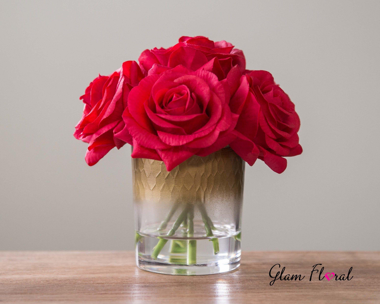 Real Touch Rose Flower Arrangement Red Roses In Faux Water Etsy Rose Flower Arrangements Flower Arrangements Centrepiece Bouquet
