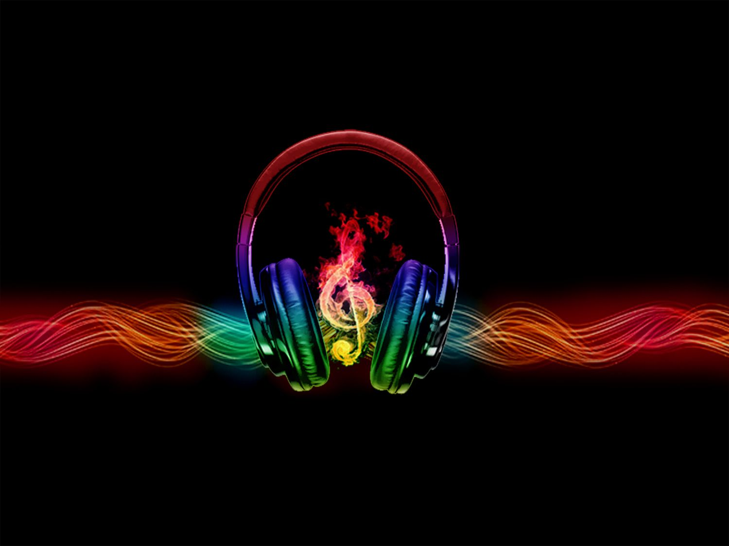 Cool Abstract Dj Music Wallpaper: Headphones With Music Wallpaper
