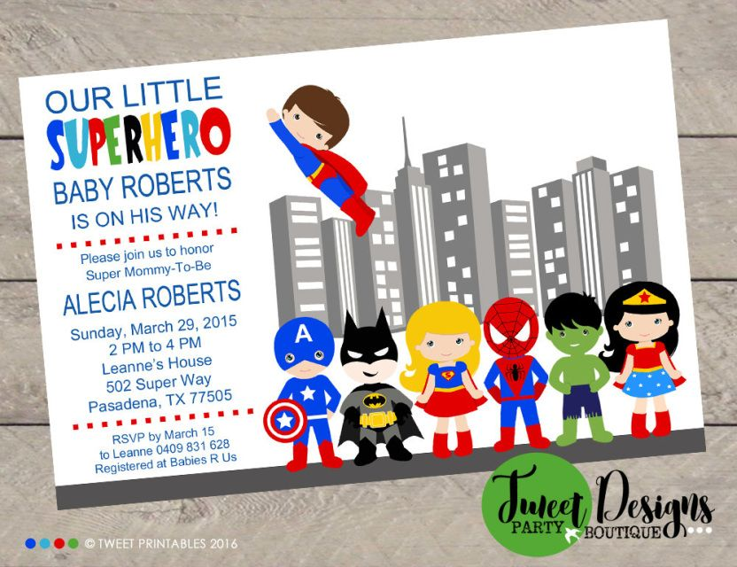 Superhero Baby Shower Invitations, Printable Baby Shower ...