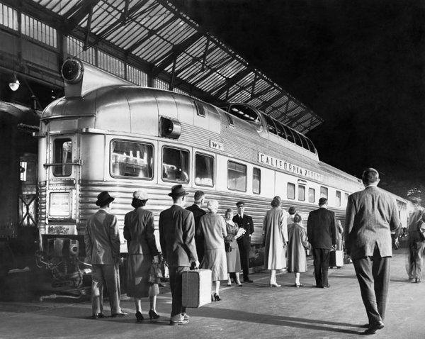 1035-549 Print featuring the photograph Boarding The California Zephyr by Underwood Archives