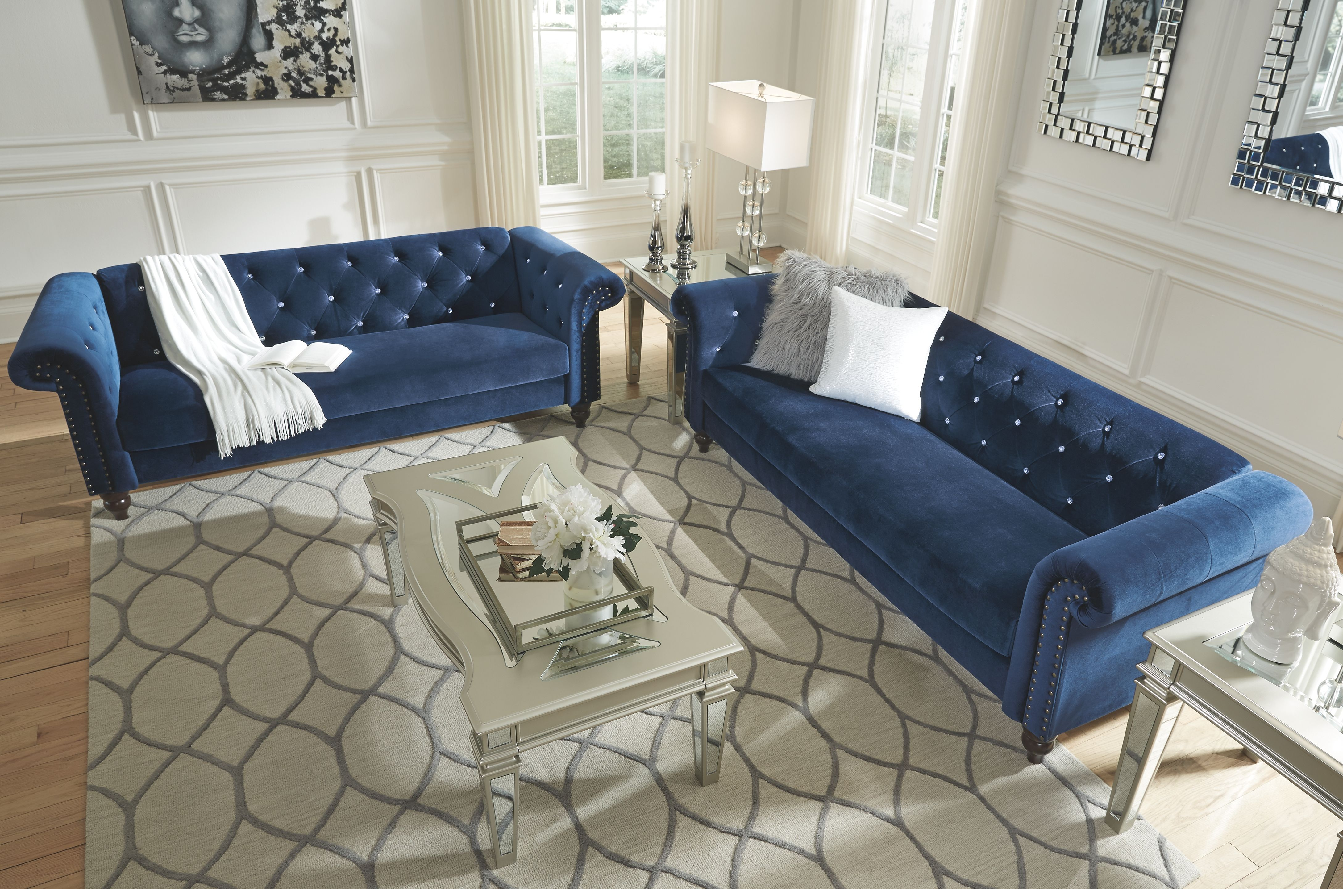 Navy Blue Sofa Set | Cool Down Your Design With Blue Velvet ...