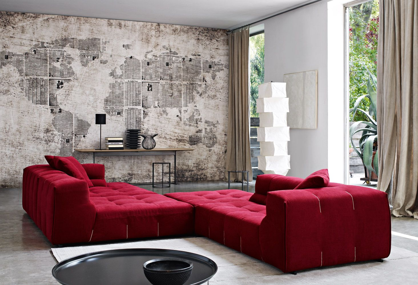 Living room with cute interior of red sofa and cushion between table - Amazing Sofa With Latest Designs Surprising Red White Living Room Design With World Map Wallpapers And Fantastic Red Chaise Lounge Sofas Design