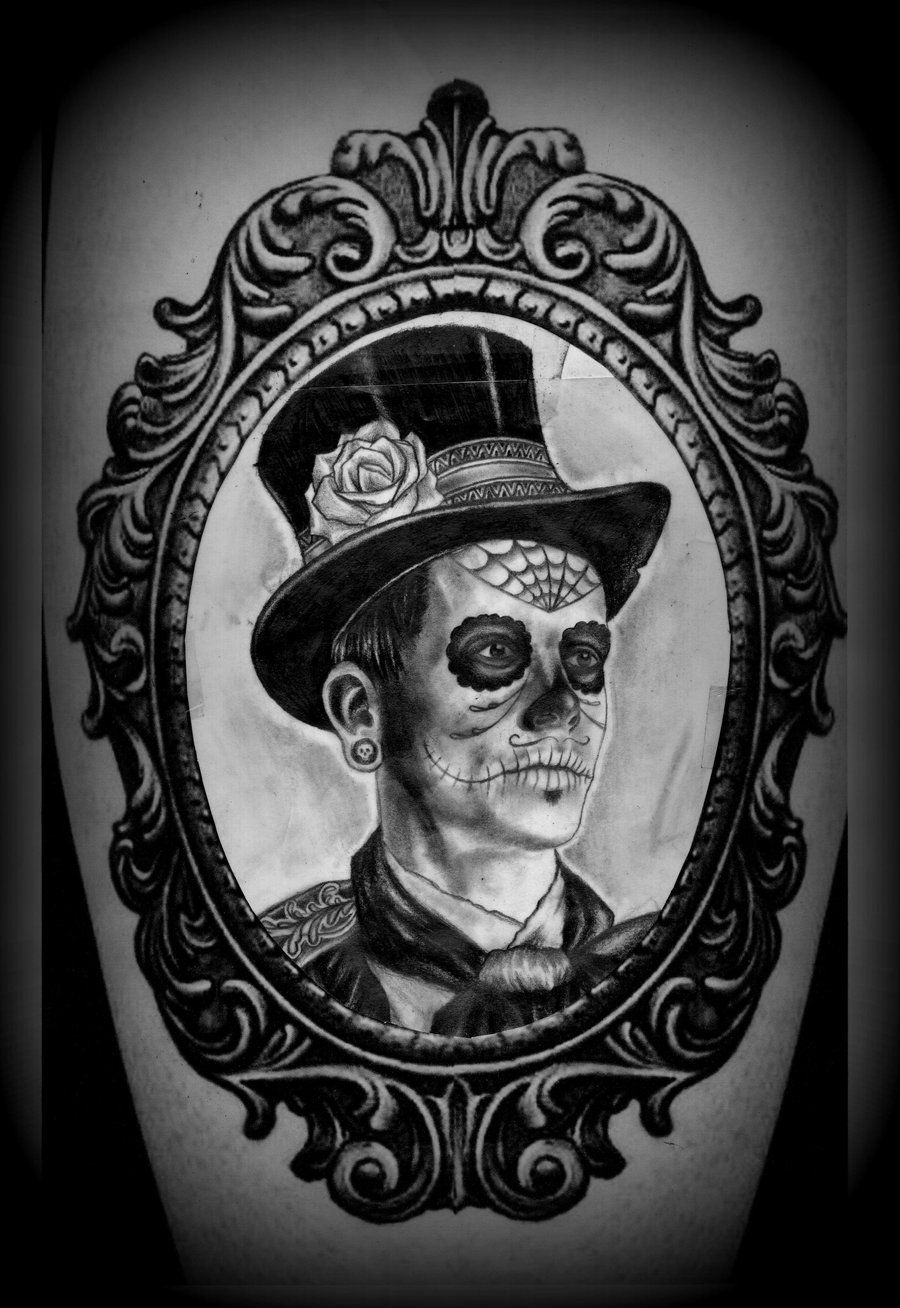 frame tattoo designs. Day Of The Dead Man In Frame Tattoo Design Designs