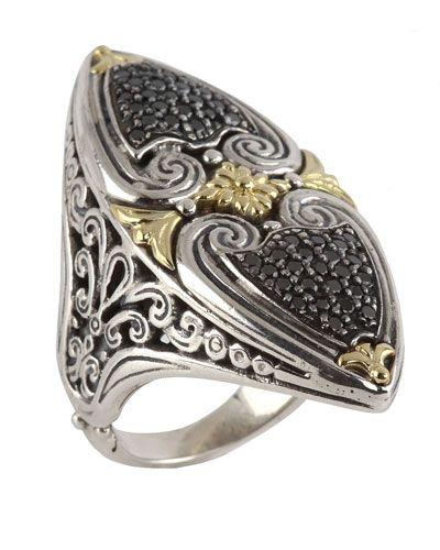 Konstantino Asteri Horizontal Ring w/ Pave Black Diamond Marquise Center, Size 8