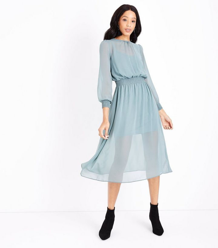 6b0e87dbad Pale Blue Chiffon Shirred Waist Midi Dress