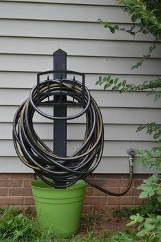 Garden Hose Holder! 4x4 Post, Large Pot, Sand, And A Wall Mount