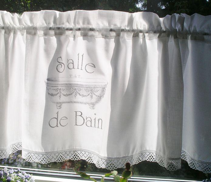 Gardine Shabby Chic Salle De Bain Bad Curtain Vorhang Etsy Scheibengardine Raffrollo Bistrogardinen