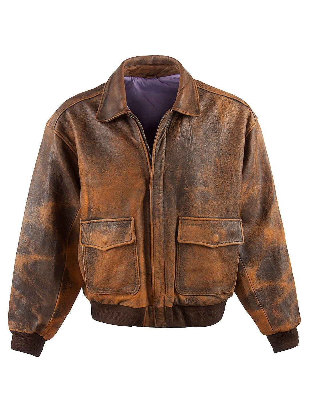 Vintage Classic Vintage Aviator Jacket - XL, Regular Fit, size Size XL . Colour Washed Brown and made from 100% Cowhide Leather with with Lilac Lining and and YKK Front Zip Fastening fastening.