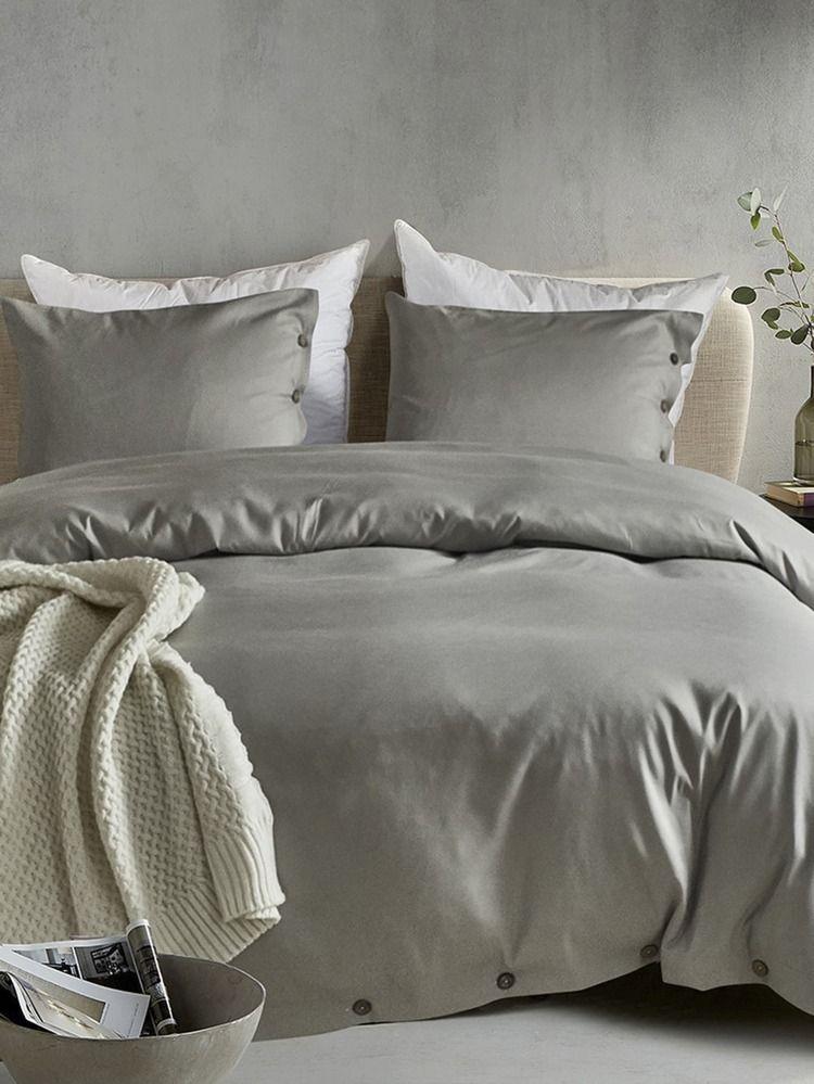 Button Decor Plain Bedding Sets Without Filler Romwe Duvet Cover Sets Light Grey Duvet Covers Gray Duvet Cover