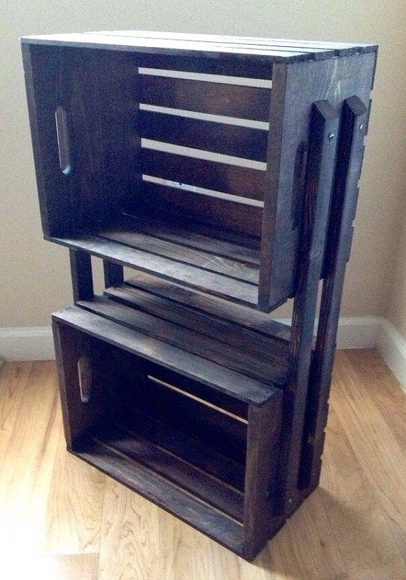 sale wooden crate 3 shelf bookcase shelving floor stand shelves for books dvd 39 s storage. Black Bedroom Furniture Sets. Home Design Ideas