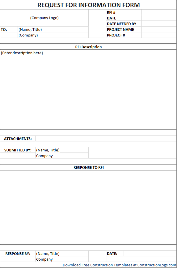 Construction Schedule Templates Form Templates For Excel Free Request For Information Rfi Form Template 0f5960 Templates Templates Free Design Submittal Form