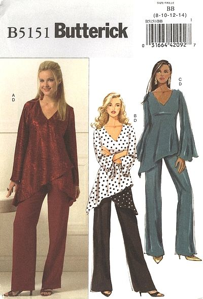 Price: $5.00  Butterick Pattern B5151-C - Tunic, Pants    (Butterick 5151)    Misses'/Misses' Petite Tunic and Pants. Pullover, bias, lined tunics A, B, C (fitted through the bust) have three-quarter length or long sleeves and asymmetrical hemline. A, B: self or contrast lower section. Straight-legged pants D have faced waistline and back zipper.    Copyright 2007.    Size: 8-10-12-14    Pattern is uncut and in the factory folds.
