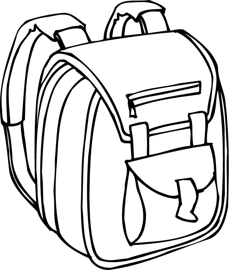 Backpack Coloring: Beautiful Printable Outline Of A Backpack With Padded