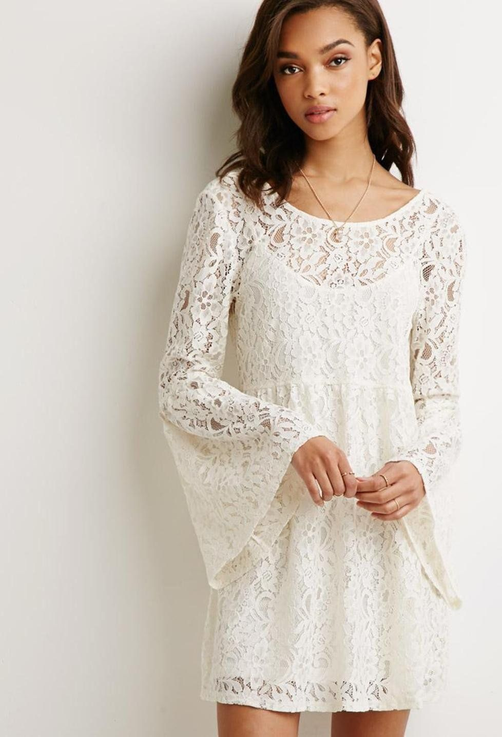 forever 21 cream lace dress | Gommap Blog | Long Sleeve Dresses ...