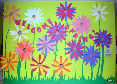 Welcome Spring Bulletin Board Idea Could Do This On A Smaller