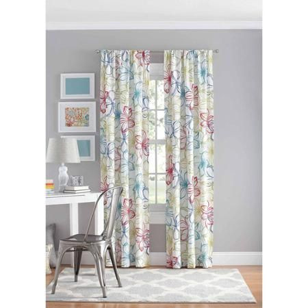 Your Zone Floral Polyester Curtain Panel Walmart Com Curtains