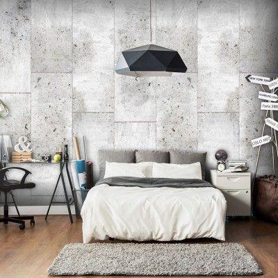 Papier peint déco effet béton blanc idéal pour une déco moderne dans une chambre