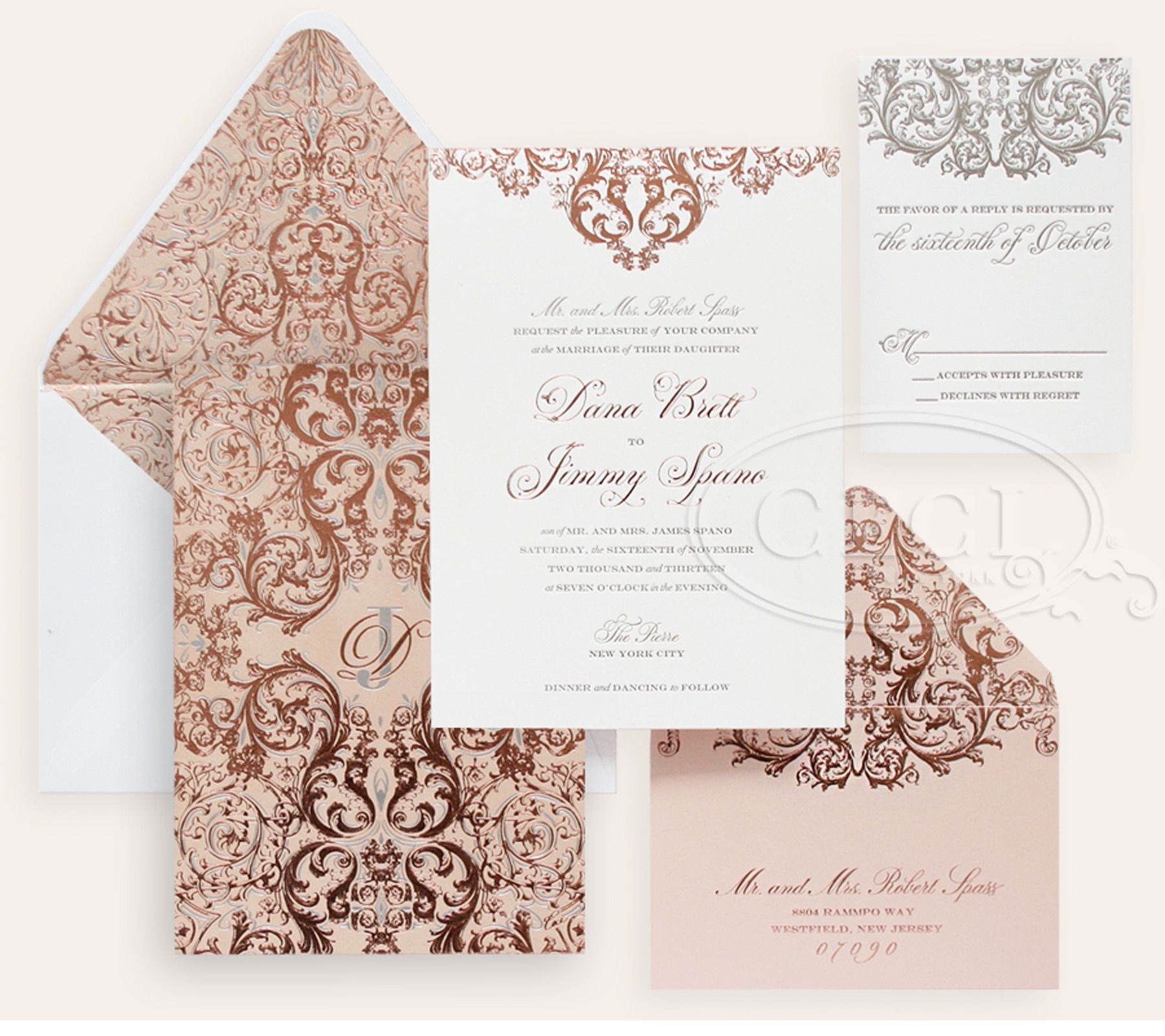 luxury wedding invitations by ceci new york our muse romantic rose gold wedding - Rose Gold Wedding Invitations