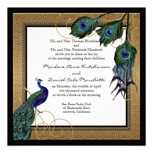 formal wedding invitations elegant peacock design