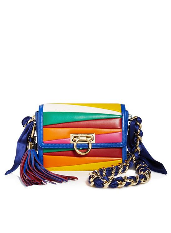 24f673758920 Salvatore Ferragamo By Sara Battaglia Solaria Small Multicolor Stripe  Leather Crossbody Bag