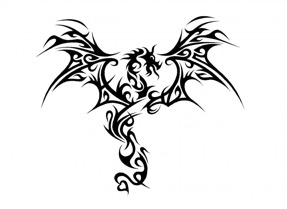 Красивая картинка дракона черно белая
