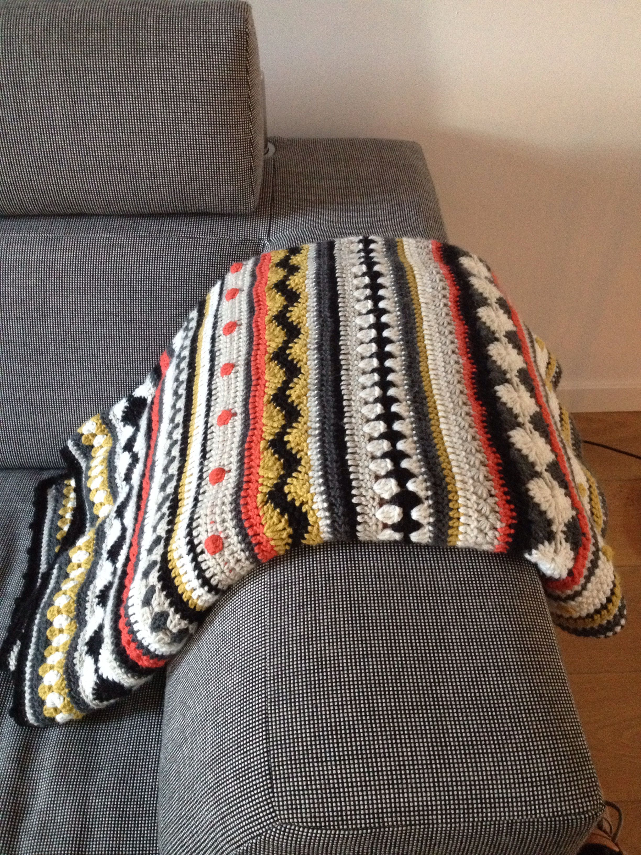 As-we-go stripey blanket