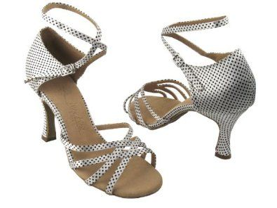 Latin Salsa Very Fine Ballroom Dance Bridal Shoe SERA1606 White Black Dots
