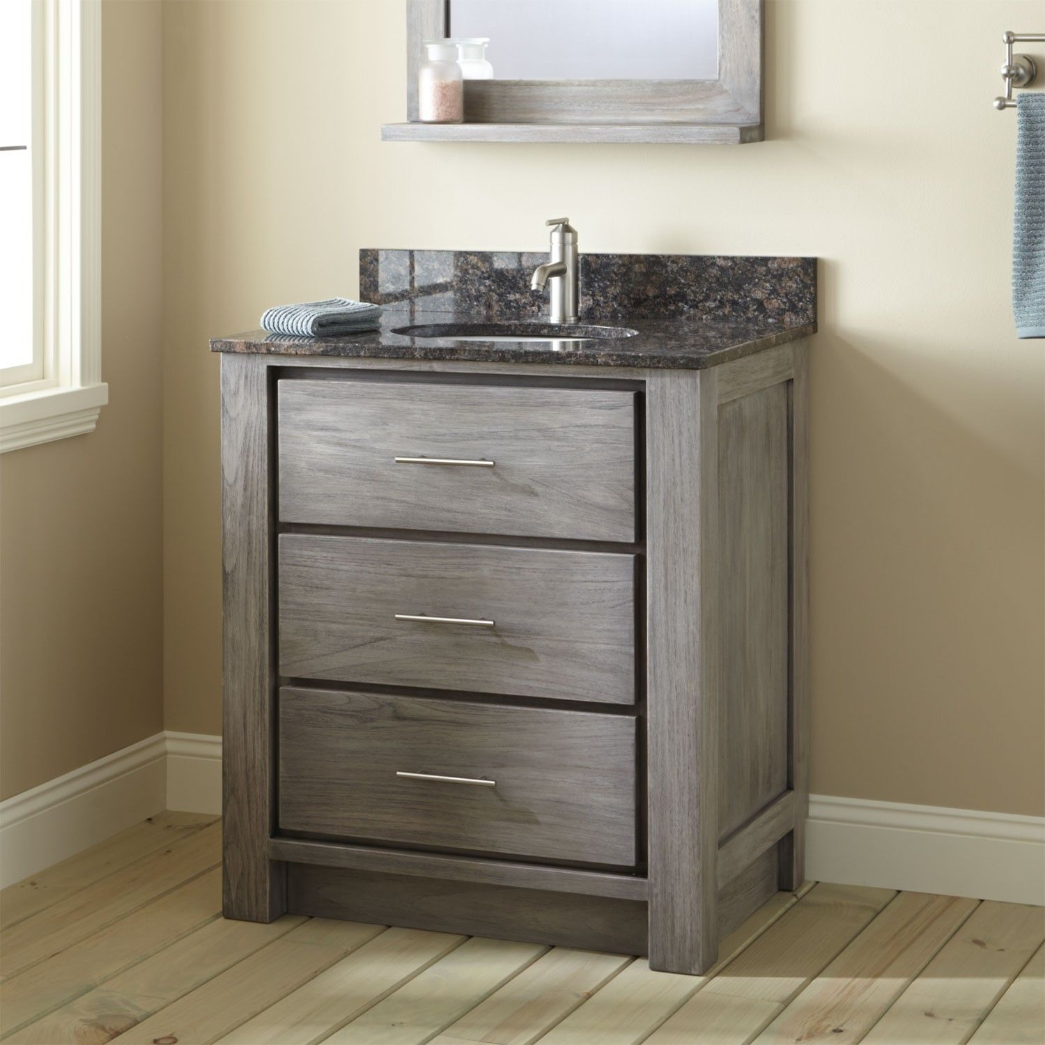 "30"" Venica Teak Vanity For Undermount Sink  Gray Wash  Grey Wash Entrancing Small Bathroom Vanity Sink Design Decoration"
