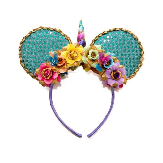 Flower Crown Rainbow Mouse Ears Flower Mouse Ears Rainbow Headband Mouse Ear Headband Ears
